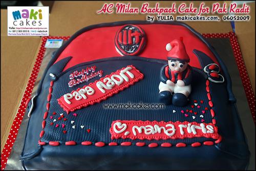 AC Milan Backpack Cake for Pak Radit_ - Maki Cakes