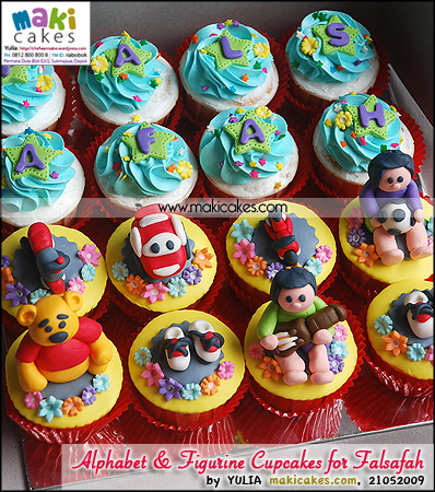 Alphabet & Figurine Cupcakes for Falsafah - Maki Cakes