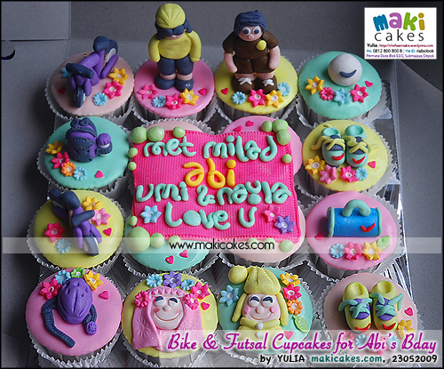 Bike & Futsal Cupcakes for Abi Birthday - Maki Cakes