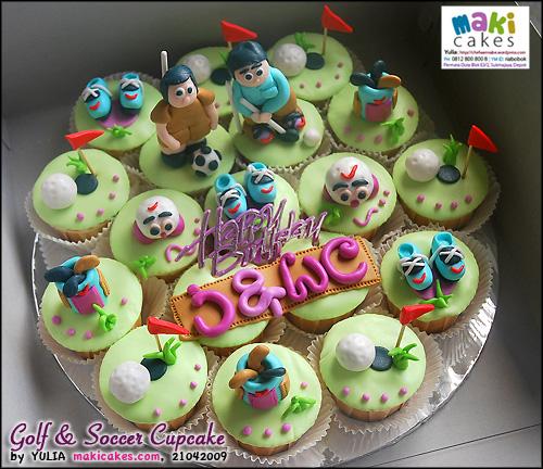Golf & Soccer Cupcake - Maki Cakes