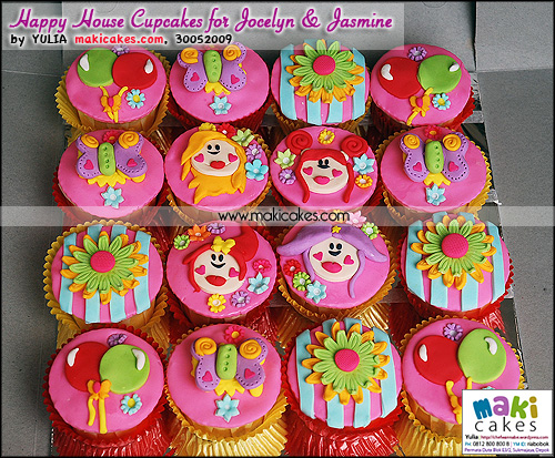 Happy House Cupcakes for Jocelyne & Jasmine - Maki Cakes
