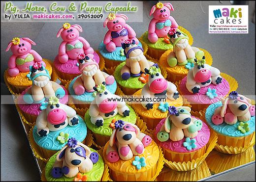 Pig Horse Cow & Puppy Cupcakes - Maki Cakes