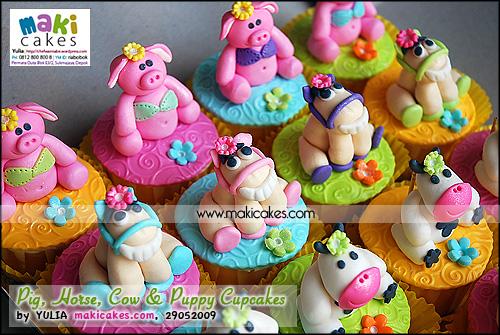 Pig Horse Cow & Puppy Cupcakes_ - Maki Cakes