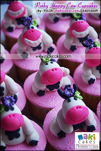 Pinky Happy Cow Cupcakes - Maki Cakes