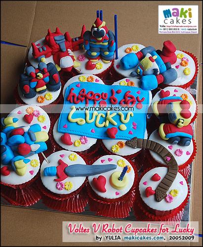Voltes V Robot Cupcakes for Lucky - Maki Cakes