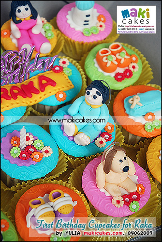 1st Birthday Cupcakes for Raka - Maki Cakes