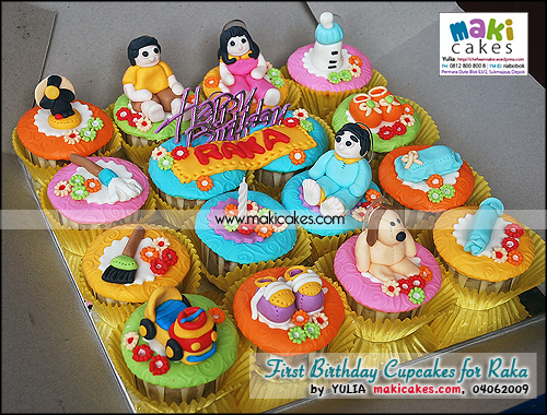 1st Birthday Cupcakes for Raka_ - Maki Cakes