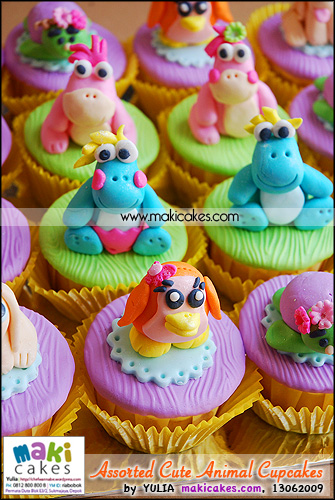 Assorted Cute Animal Cupcakes for Mbak Linda - Maki Cakes