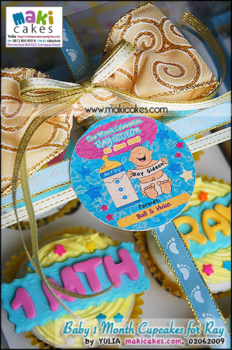 Baby 1 Month Cupcakes for Ray_ 6 cups w Exclusive box  - Maki Cakes