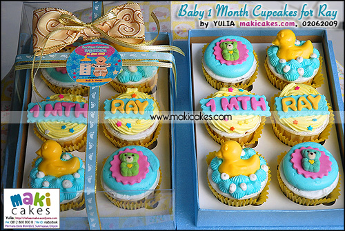 Baby 1 Month Cupcakes for Ray_ 6 cups w Exclusive box_  - Maki Cakes
