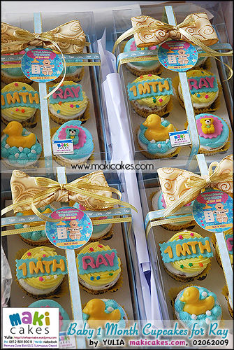 Baby 1 Month Cupcakes for Ray_ 6 cups w Exclusive box__  - Maki Cakes