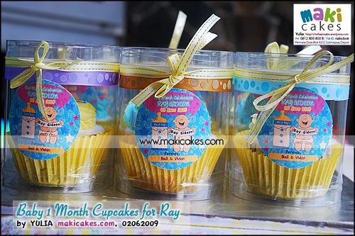 Baby 1 Month Cupcakes for Ray_kemasan tabung_ - Maki Cakes