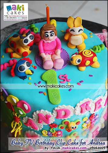 Baby TV Birthday Clip Cake for Andrea - Maki Cakes