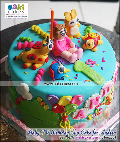 Baby TV Birthday Clip Cake for Andrea_ - Maki Cakes