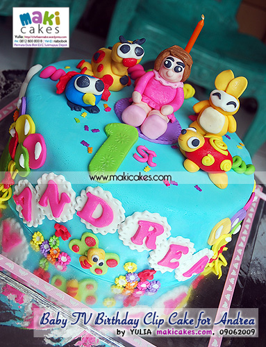 Baby TV Birthday Clip Cake for Andrea__ - Maki Cakes