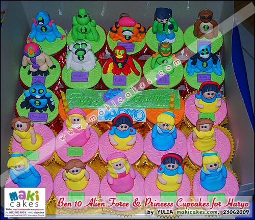 Ben 10 Alien Force & Princess Cupcakes for Haryo - Maki Cakes