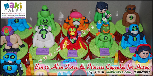 Ben 10 Alien Force & Princess Cupcakes for Haryo__ - Maki Cakes