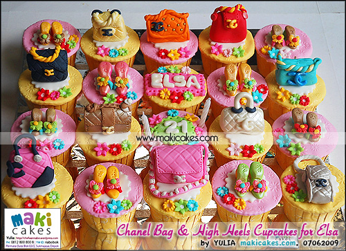 Chanel Bag & High Heels Cupcakes for Elsa_ - Maki Cakes