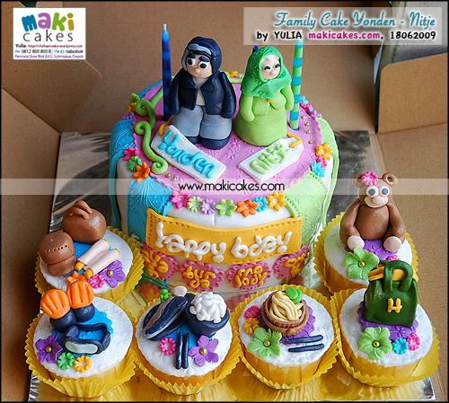 Family Cake & Cupcakes Set Yonden - Nitje_ - Maki Cakes
