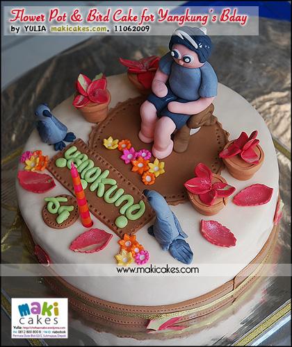 Flower pot & Bird Cake for Yangkung Bday - Maki Cakes