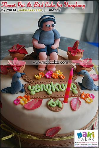 Flower pot & Bird Cake for Yangkung Bday_ - Maki Cakes