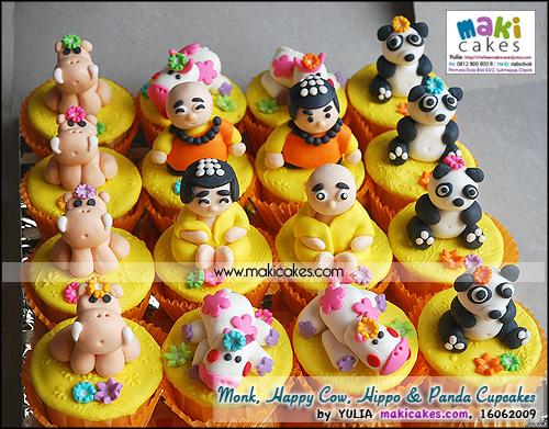 Monk _ Happy Cow _ Hippo & Panda Cupcakes - Maki Cakes