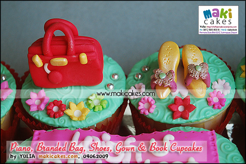 Piano Branded Bag Shoes Gown & Book Cupcakes_ - Maki Cakes