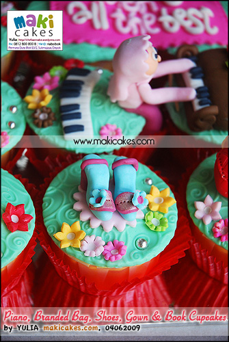 Piano Branded Bag Shoes Gown & Book Cupcakes__ - Maki Cakes