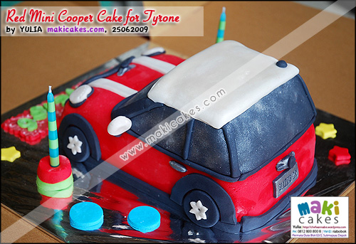 Red Mini Cooper Cake for Tyrone_ - Maki Cakes
