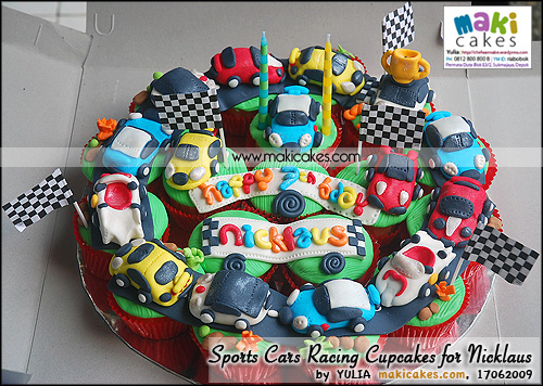 Sports Cars Racing Cupcakes for Nicklaus - Maki Cakes