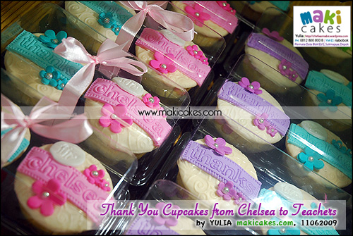 Thank You Cupcakes from Chelsea to Teachers_ in clear box - Maki Cakes