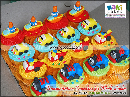 Transportation Cupcakes for Mbak Linda - Maki Cakes