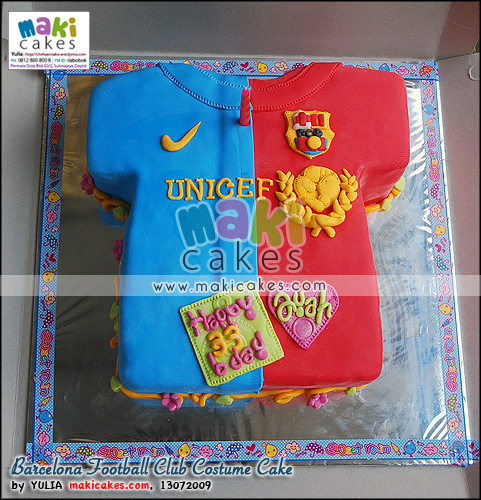 Barcelona Football Club Costume Cake_ - Maki Cakes