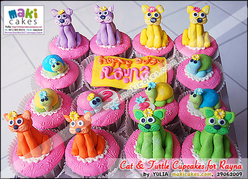Cat & Turtle Cupcakes for Rayna - Maki Cakes