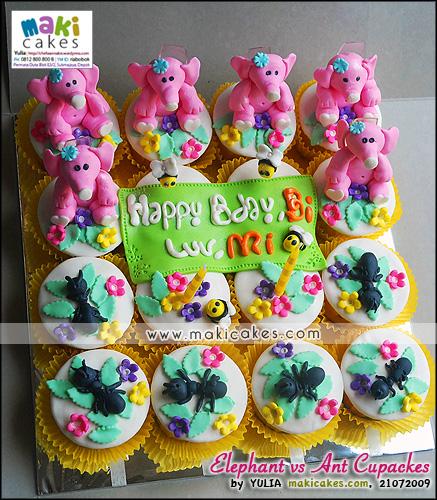Elephant vs Ant Cupcakes - Maki Cakes