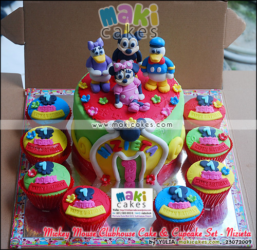 Mickey Mouse Clubhose Cake & Cupcake Set for Nizieta - Maki Cakes