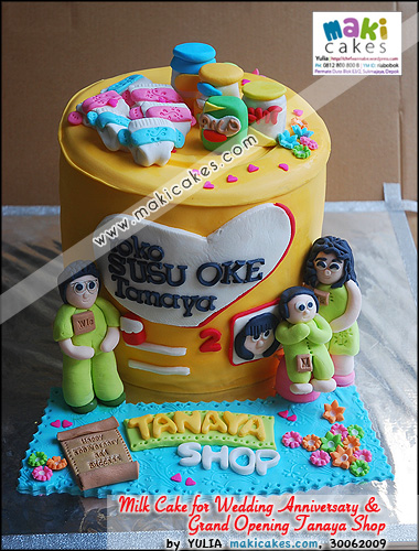 Milk Can Cake 4 Grand Opening Tanaya Shop & Wedding Anniversary - Maki Cakes