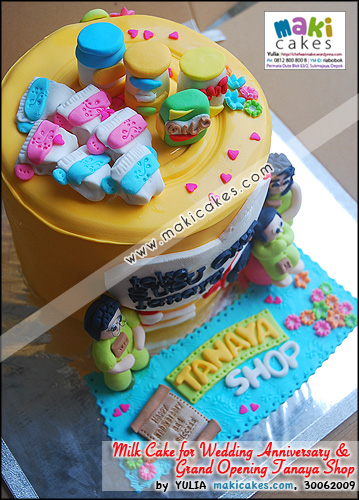 Milk Can Cake 4 Grand Opening Tanaya Shop & Wedding Anniversary_ - Maki Cakes