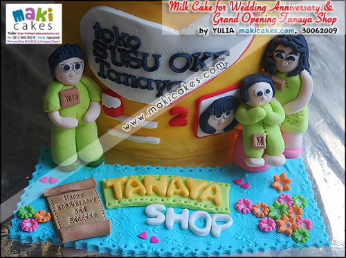 Milk Can Cake 4 Grand Opening Tanaya Shop & Wedding Anniversary__ - Maki Cakes