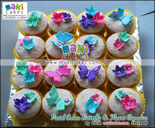 Pastel Colors Butterfly & Flower Cupcakes - Maki Cakes