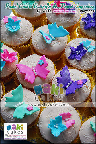 Pastel Colors Butterfly & Flower Cupcakes_ - Maki Cakes