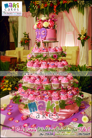 Pink Purple Wedding Cupcakes for Toti & Cornel - Maki Cakes