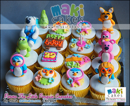 Pororo The Little Penguin Cupcakes_ - Maki Cakes