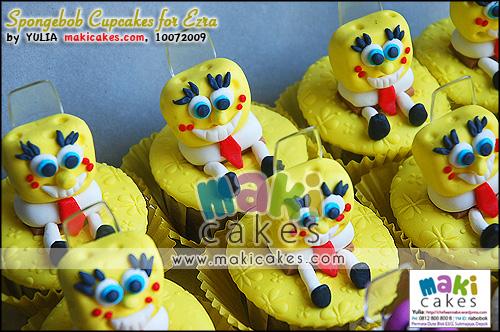 Spongebob Cupcakes for Ezra - Maki Cakes