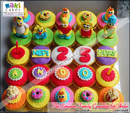 The Simpson Family Cupcakes for Ando - Maki Cakes