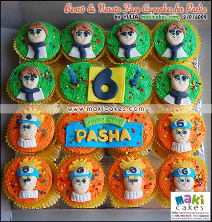 Ben 10 & Naruto Face Cupcakes for Pasha - Maki Cakes