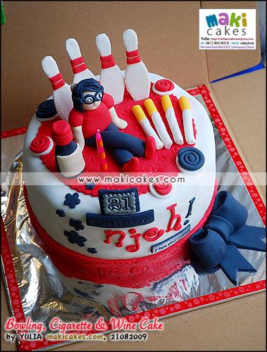 Bowling Cigarette & Wine Cake - Maki Cakes