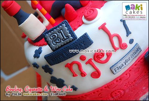 Bowling Cigarette & Wine Cake_ - Maki Cakes