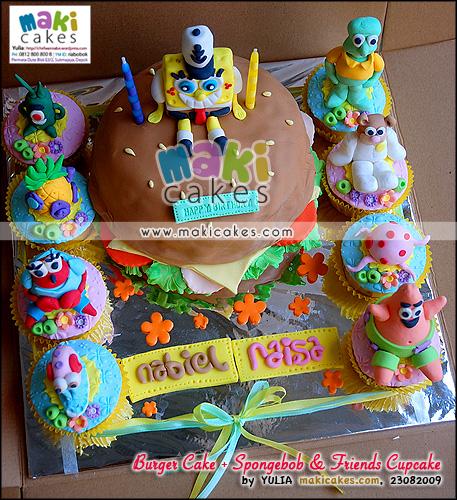 Burger Cake + Spongebob & Friends Cupcakes - Maki Cakes