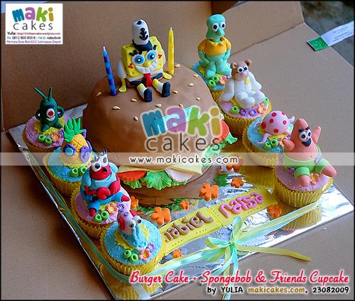 Burger Cake + Spongebob & Friends Cupcakes_ - Maki Cakes